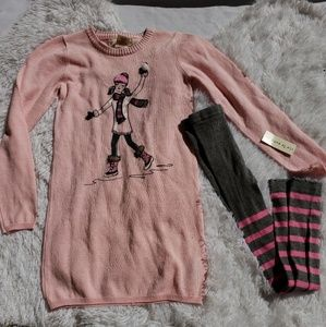 NWT Girls Sweater Dress Matching Tights 7/8